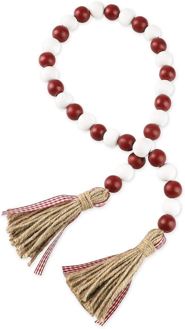 Christmas Wood Bead Garland with Tassels, Rustic Farmhouse Tiered Tray Holiday Decorations, Red and White Wooden Bead with Jute Rope Plaid Tassel, Natural Country Xmas Home Decor (Berry Red & White)