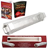 """Kaduf Pellet Smoker Tube 12"""", 5 Hours of Billowing Smoke in Any Grill or Smoker, Ideal for Cold & Hot Smoking Pork, Fish, Cheese with Wood Pellets, eBook Smoking Recipes Included"""