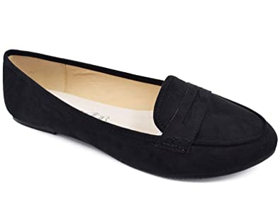6ecdaded792 Greatonu Women s Black Faux Suede Penny Loafer Flats(6 ...