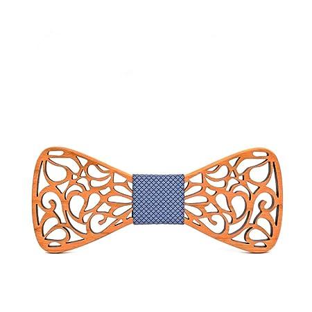 Necktie [Ze! Pajarita de madera floral. Fácil de quitar, unisex ...