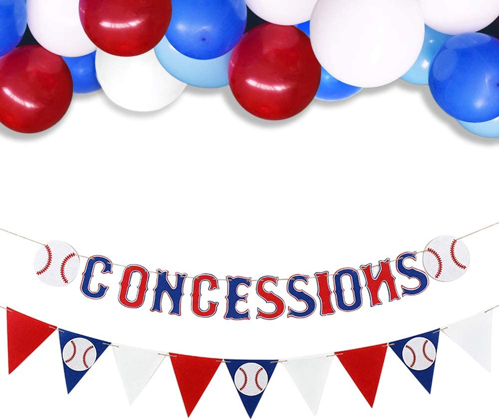 2 Pack CONCESSIONS Baseball Banner Triangle Bunting Flag with Balloons Baseball Theme Birthday Party Decoration Sports Party Supplies