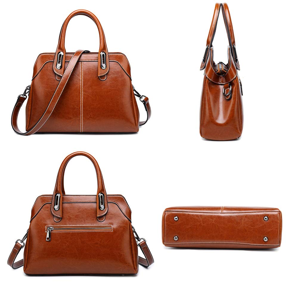 NWKX Genuine Leather Women Bag Cowhide Shoulder Bags Vintage Handbags Briefcase Splice