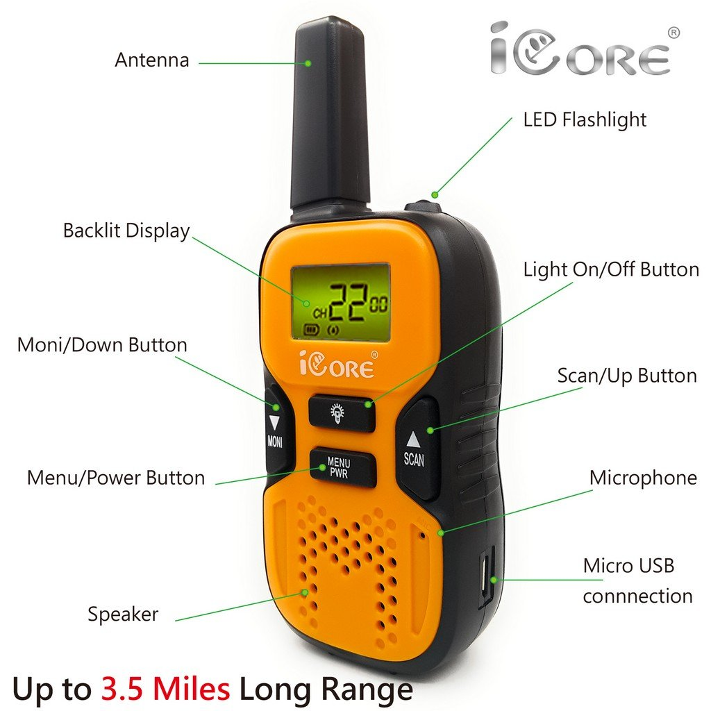 iCore Walkie Talkies for Kids, Long Range Walkie Talkie with 2 Way Radios (Pair), 22 Channel Walky Talk Rechargeable, Built-in Flash Light for Girls Boys Toys Age 6 7 Year Old Up (Orange) by iCore (Image #4)