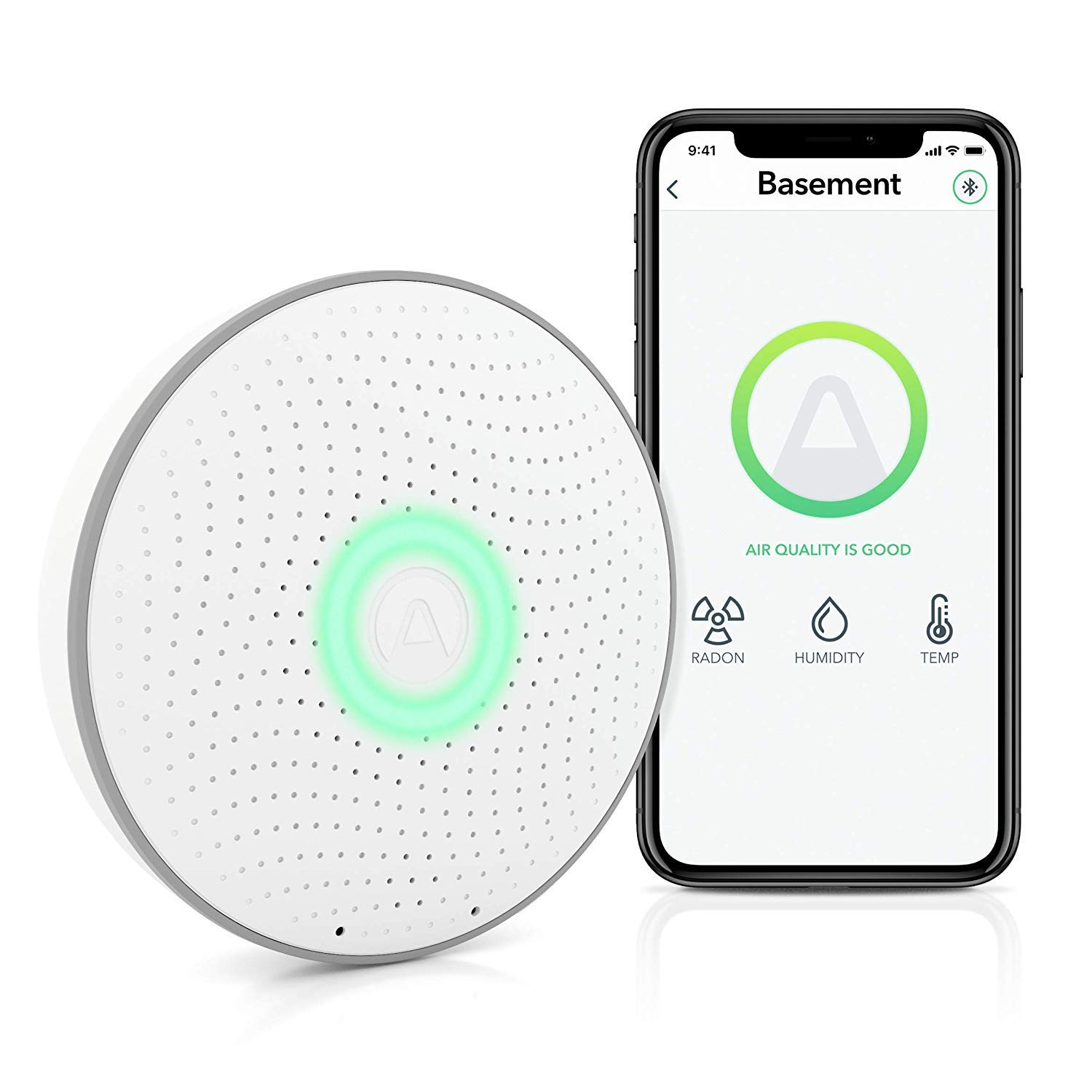 Airthings Wave (2nd Gen) - Smart Radon Detector with Humidity & Temperature sensor – Easy-to-Use – Accurate – No Lab Fees – Battery Operated - Free App