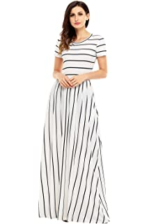 24cb453ac11 Lovezesent Women s Casual Striped Loose Plain Long Maxi Dresses with Pockets