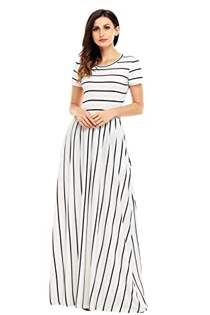 9e39dd3503 Women s Striped Round Neck Short Sleeve Maxi Summer Casual Dress Small Black