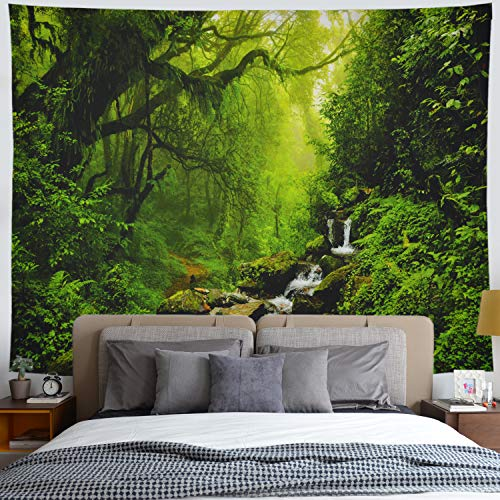 Gusatanhati Forest Tapestry Rainforest Stream Tapestry Wall Hanging Nature Landscape Wall Tapestry Jungle Trees Waterfall Tapestry Misty Forest Tapestry Psychedelic Tapestry for Living Room ()
