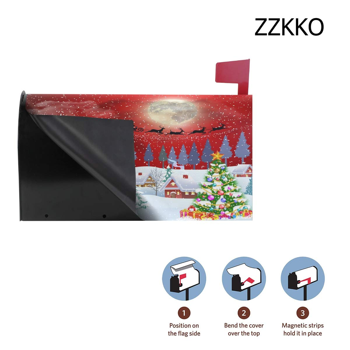 Winter Night Christmas Tree Mailbox Covers Wraps Post Letter Box Cover Home Garden Yard Outside Decorative for Standard Size 20.8x25.4 ZZKKO Xmas Holiday Magnetic Mailbox Covers