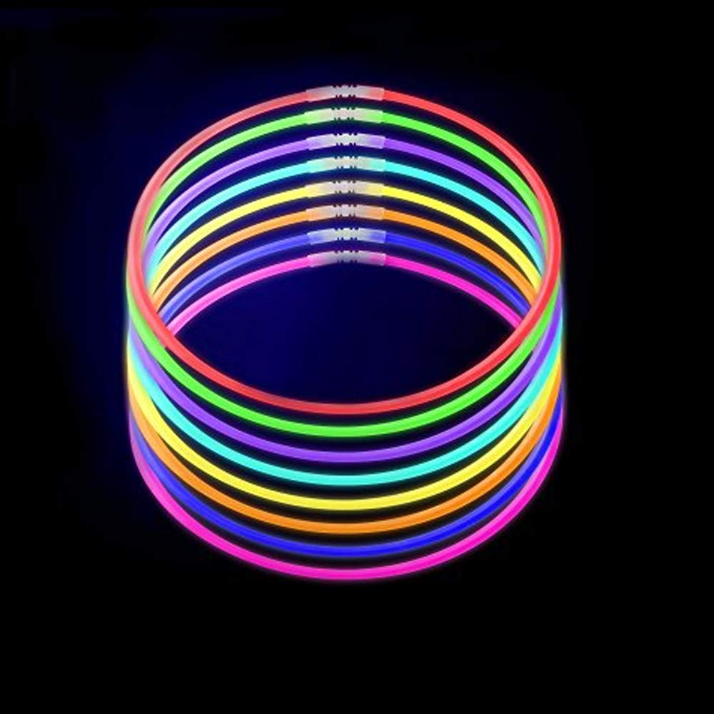 Lumistick Premium 22 Inch Glow Stick Necklaces with Connectors | Kid Safe Non-Toxic Glowstick Necklaces Party Pack | Available in Bulk and Color Varieties | Lasts 12 Hours (Color Assortment, 100) by Lumistick (Image #2)
