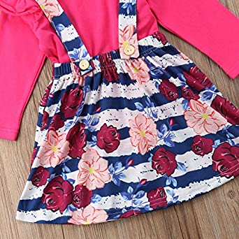 Toddler Baby Girl Plain T Shirts Stripe Floral Overall Skirt Set Cotton Outfits