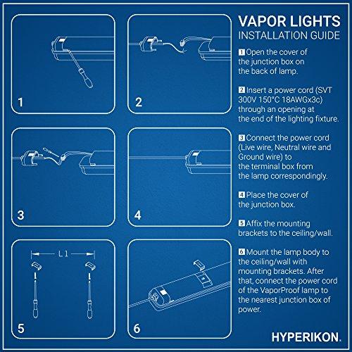 Hyperikon LED Vapor Proof Fixture 70W (150W Eq),7200Lm, 5000K (Crystal White Glow), UL & DLC 4.2, Clear Cover, Waterproof,IP65, 120-277v, Garage Lighting, Car Wash, Warehouse, Walk in Freezer, 1-Pack by Hyperikon (Image #9)