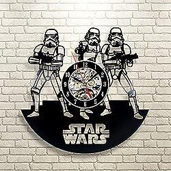 Stormtrooper Star Wars Art Vinyl Record Wall Clock Fan Gift Black Room Decor Idea