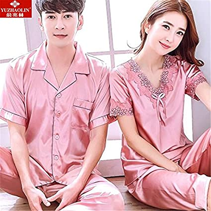 49a5d0b0de MH-RITA Couples pajamas Ms. summer short-sleeved emulation silk suits summer  male
