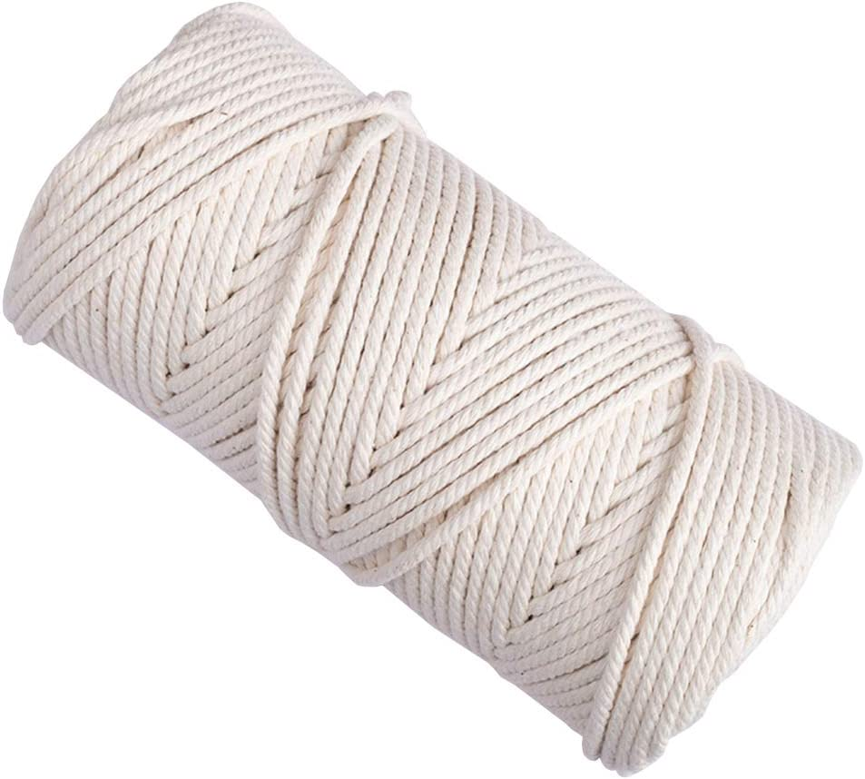 Bearals Macrame Cord 4mm × 109Yards 100% Natural Cotton Macrame Rope 4 Strand Twisted Soft Cotton Cord for Handmade Wall Hanging, Plant Hangers, Crafts, Knitting, Craft Cord