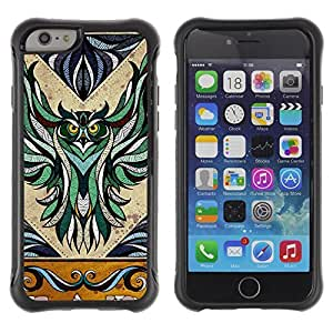 Hybrid Anti-Shock Defend Case for Apple iPhone 6 4.7 Inch / Majestic Owl