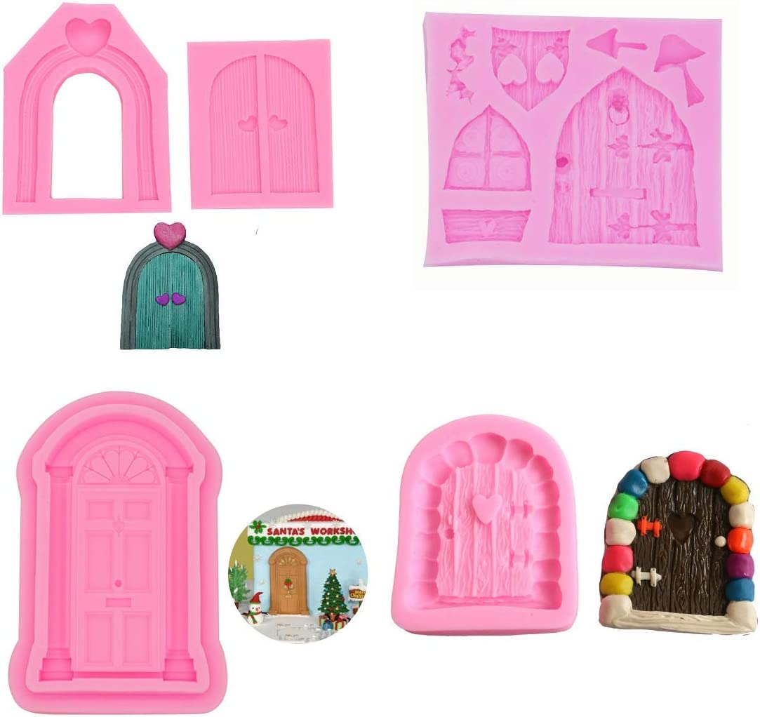 Xidmold 5Pcs Enchanted Vintage Fairy Garden Fairy Gnome Home Door Silicone Chocolate Fondant Molds Crafting Polymer Clay Molds Cake Decorating Tools Sugarcraft Cake Decoration Craft Moulds Baking Mold