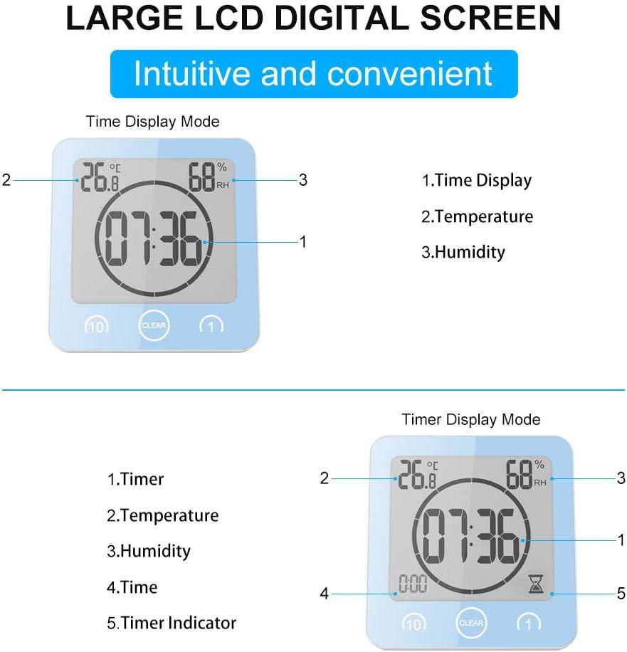 Horloge Portable dhumidit/é de la temp/érature num/érique Alarme pour Cuisine Alarme minuterie /à Piles avec Commande Tactile Sunsbell Horloge de Salle de Bain