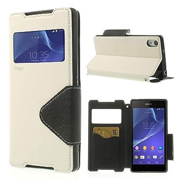 NessKa® Hülle Für Sony Xperia Z5 | Hülle in Weiß | Handyhülle mit Kartenfach Fenster und Standfunktion Schutzhülle Flip Case
