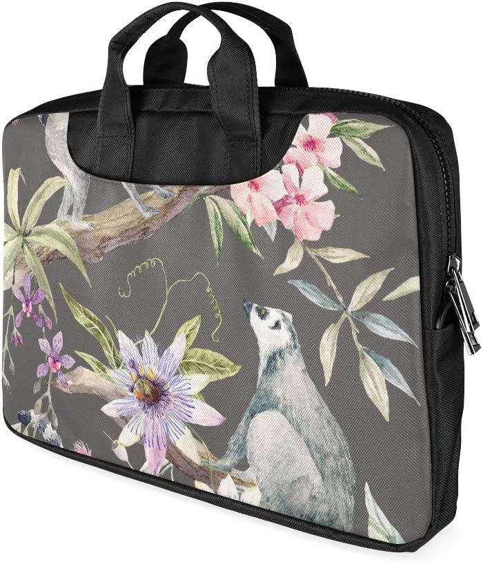 13 Inch Watercolor Tropical Lemurs Passionflower Eucalyptus Briefcases Laptop with Handle Lightweight Laptop Bag Travel Fits MacBook Air Pro
