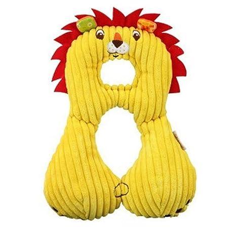 Isuper Cojines,Almohada para bebés Almohadilla Reposacabezas Diseño animado para Viaje apoyo de cabeza y cuello para Niños(León)