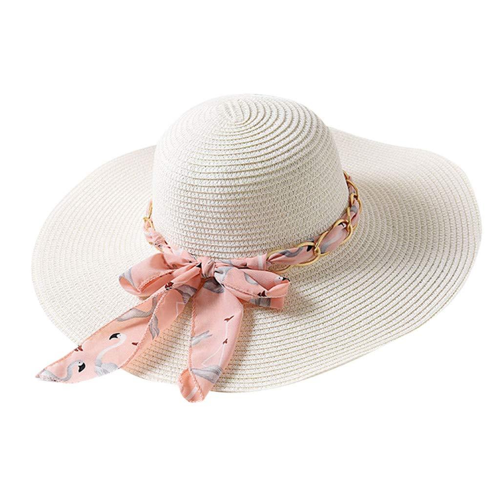 Yamally Women's Floppy Beach Sun Hat, Womens Big Bowknot Straw Hat Foldable Roll up Sun Hat Beach Cap UPF 50+ Beige