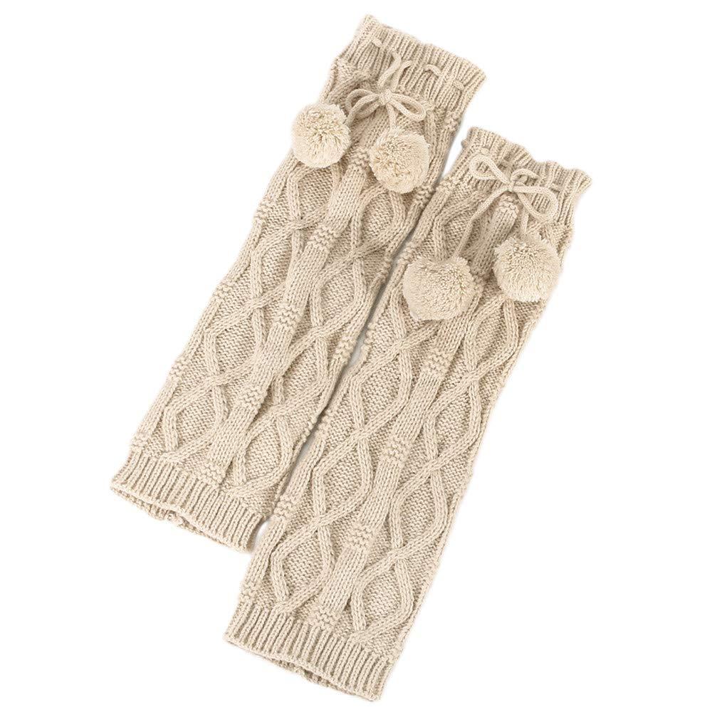 YWLINK Damen Winter Warm Knit Beinlinge H/äKeln Gamaschen Twist Mit Bommel Slouch Boot Socken