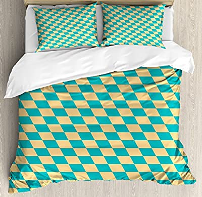 Geometric Duvet Cover Set by Ambesonne, Art Deco Style Chess Table Dart Like Horizontal Vintage Image, Decorative Bedding Set with Pillow Shams, Turquoise and Light Yellow