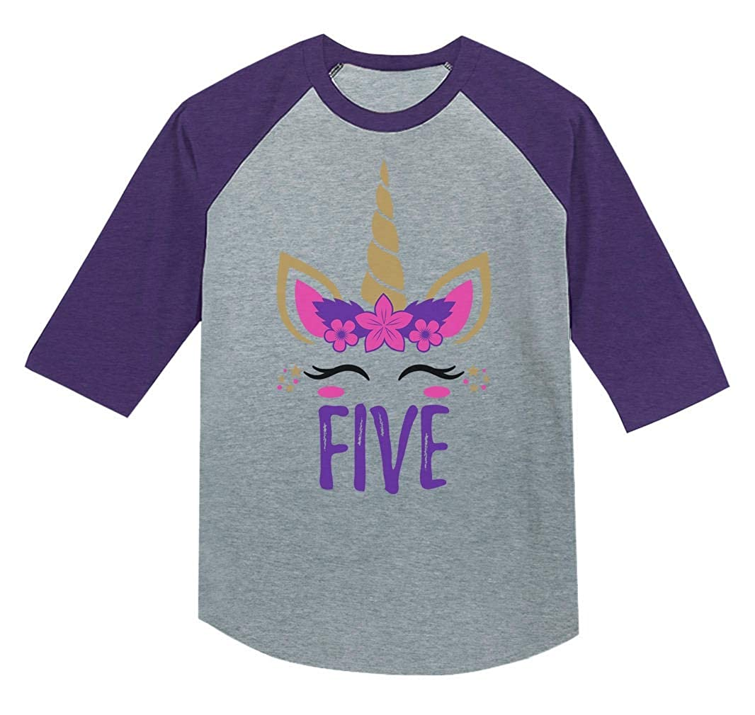 5 Year Old Girl Birthday Gift Unicorn 3//4 Sleeve Baseball Jersey Toddler Shirt