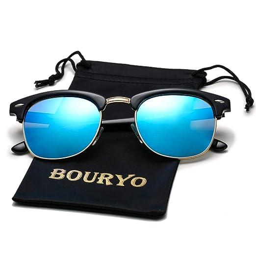 8229f9eccc503 BOURYO Semi Rimless Polarized Clubmaster Sunglasses Horn Rimmed Half Frame  Sun Glasses for Men and Women