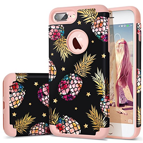 iPhone 7 Plus Case,iPhone 8 Plus Case Pineapple,Fingic Floral Pineapple Ultra Slim Case Hard PC Soft Rubber Anti-Scratch ShockProof Protective Case Cover for iPhone 7/8 Plus (Black)