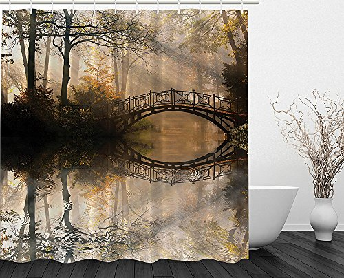 [Autumn Shower Curtain by Mystic Bridge Fall Park Trees Foggy View River Reflection Lake House Decor Decorations Print Polyester Fabric Bathroom Set with Free Hooks Yellow Brown Dark] (Dr Gregory House Costume)