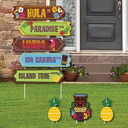 Tiki Luau Street Sign Cutouts - Tropical Hawaiian Summer Party Yard Signs & Decorations - Set of 8 ()