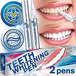Teeth Whitening Pen Effective Teeth Whitener Painless Gel Whitening Pen Easy Tooth Whitening White Smile 35% Carbamide Peroxide Gel Natural Mint Flavor 2 PackInstant Teeth Pens