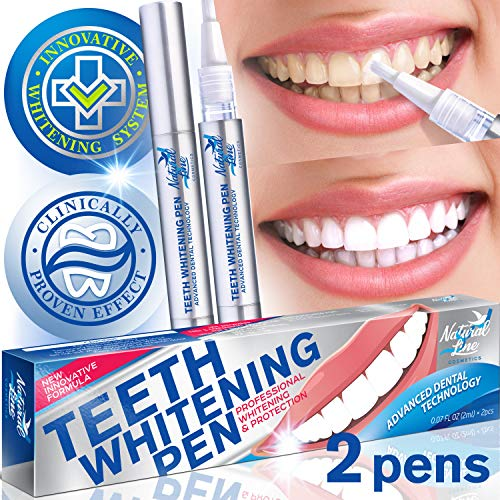 Teeth Whitening Pen Effective Teeth Whitener Painless Gel Whitening Pen Easy Tooth Whitening Pen Beautiful White Smile Safe 35% Carbamide Peroxide Gel Natural Mint Flavor 2 Pack Instant Teeth Pens