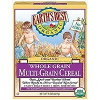 El mejor cereal infantil orgánico de Earth's, granos enteros múltiples, 8 oz. Caja (paquete de 12)