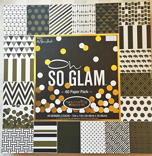 - Oh So Glam 12x12 Gold Foiled Embossed Scrapbooking Paper Cardstock, Arrows, Greek Key, Elephants, Anchors, 60 sheets