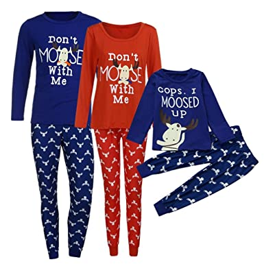 ecurson family matching christmas funny print pajamas set dad mom kid matching tops pants set