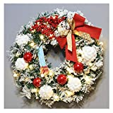 Promisen Christmas Wreath,Merry Christmas Garland Decorations with Bowknot Red Berries Balls for Christmas Party Decor Front Door Wall,55-60cm Diameterv (Red)