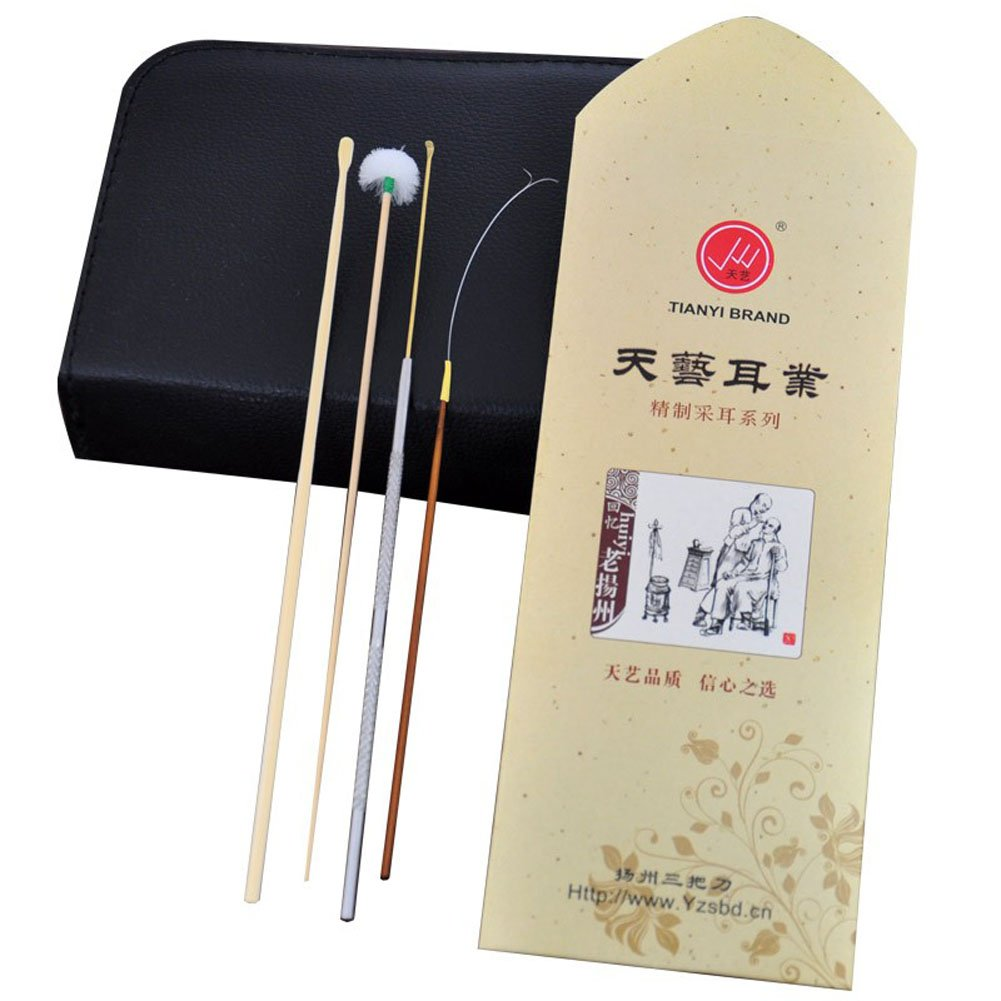 4 PCS Creative Family Use Bamboo Earwax Removal Earpicks Set/ Travel Set by Panda Superstore (Image #1)