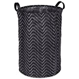 DII Woven Paper Round Collapsible Waterproof Coated Anti-mold Laundry Hamper or Bin, Perfect In Your Bedroom, Nursery, Dorm, Closet, 14 x 14 x 20'' - Black Tribal Chevrons