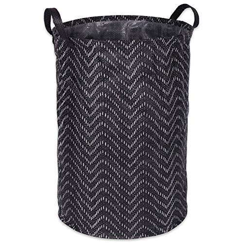 DII Woven Paper Round Collapsible Waterproof Coated Anti-mold Laundry Hamper or Bin, Perfect In Your Bedroom, Nursery, Dorm, Closet, 14 x 14 x 20'' - Black Tribal Chevrons by DII