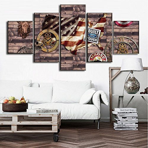 Wooden Vintage American Flag Paining Canvas Framed Retro USA Print Stars and Stripe Pictures 5 Piece/Set Posters and Print Wall Art for Living Room,Giclee Gallery Wrap Modern Home Decor(60''Wx40''H)