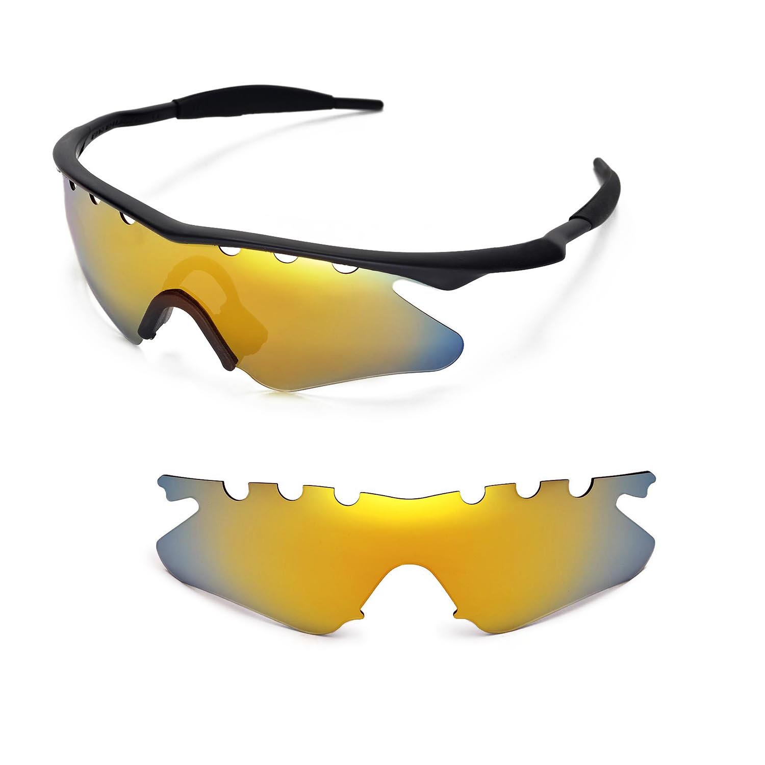 882bcdd233f Amazon.com   Walleva Vented Replacement Lenses for Oakley M Frame Hybrid  Sunglasses - Multiple Options Available (24K Gold - Polarized)   Sports    Outdoors