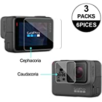 Awinner Glass for GoPro Hero5/Hero6,Screen Protector(Screen and Lens) Ultra-Clear Tempered-Glass for Hero 5 Action Camera(3-Pack)