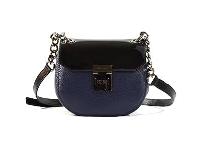2666039dd3820e Michael Kors Cecelia Mini Saddle Leather Crossbody Bag Purse Handbag (Navy  Black): Handbags: Amazon.com