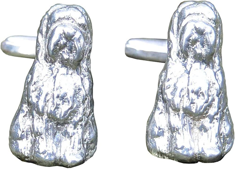 Gemelos de Peltre Perro Perro Pastor Inglés (Bobtail), Hecho a Mano por William Sturt en Francia