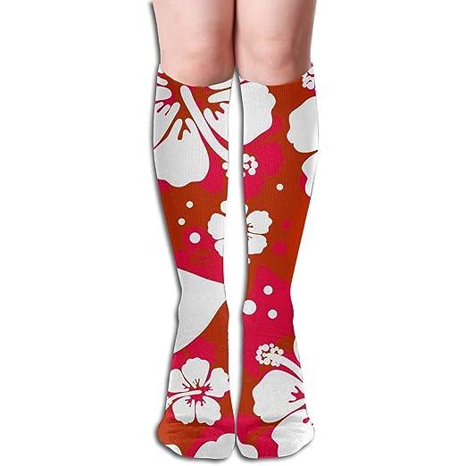 91e396bddd404 Amazon.com: redhearty Hawaiian Hibiscus Flower Compression Sock ...