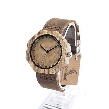 MSB relojes de bambú / octogonales mesa de madera caras en blanco de aguja calvo / reloj del negocio ocasional reloj / de cuarzo: Amazon.es: Deportes y aire ...