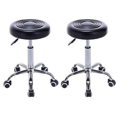 Remarkable Goplus Adjustable Hydraulic Rolling Swivel Bar Stool Bonded Leather Tattoo Facial Massage Spa 2 Black Short Links Chair Design For Home Short Linksinfo