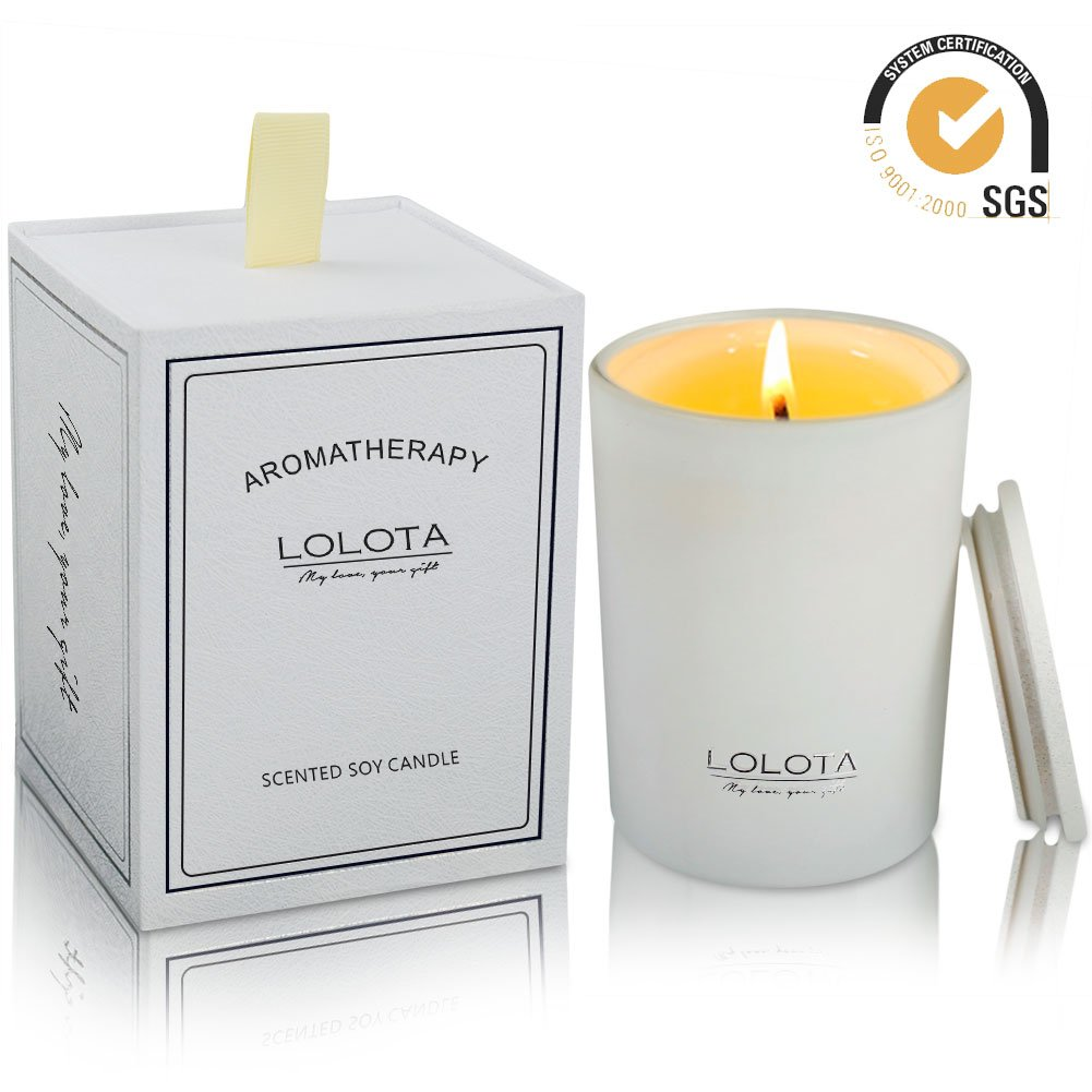 LALATA Lemon Tea Musk Scented Candle Gift Soy Wax Aromatherapy Set of Fragrance Soy Candle 9.5 OZ-270g 55 Hours Burn Fine Home Fragrance Gifts Candle for Stress Relief and Relaxation